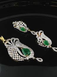 stunning american diamond cz pendant set with emeralds indian kundan ic and gold jewelry in atlanta and
