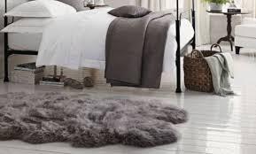 extra large grey sheepskin rug