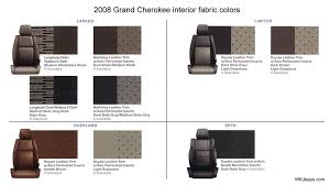 Cherokee Color Chart Jeep Grand Cherokee Wk Exterior And Interior Colors