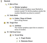 use these language arts examples to integrate into  character analysis outline macbeth