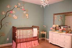 Traditional Room Style Metal Crib Decorating Baby Girl Nursery Rustic  Blossom Tree Wall Decals Framed Mirror