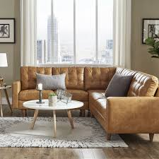 Odin Caramel Leather Gel L-Shape Sectional by iNSPIRE Q Modern - Free  Shipping Today - Overstock.com - 25689523