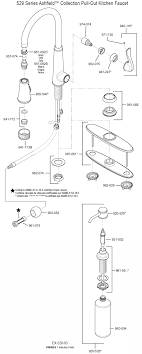 part diagram for ashfield single handle pull out kitchen faucet 529 model series