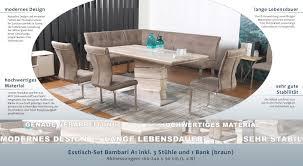 Esstisch Set Bambari A1 Inkl 3 Stühle Und 1 Bank Braun 160
