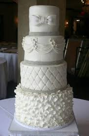 4 Tier buttercream wedding cake decorated with rosettes, scrolls ... & A simple white wedding cake with the layers in quilted and Ruffle fondant  design Adamdwight.com