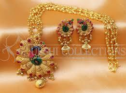 lovely designer gold plated peacock pendant set