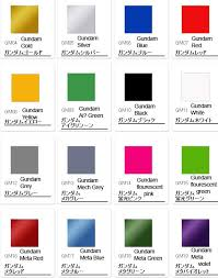 Anime Eye Color Meaning Chart Gsi Creos Gundam Color Chart Mech9 Com Anime And Mecha