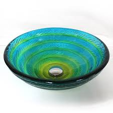 contemporary blue and green swirl bowl shaped painted glass vessel sink for bathroom
