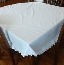 inch round white cotton tablecloth with by 60 x 120