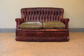 Small 1940s Spanish Burgundy Leather Sofa Antique Leather Sofa2