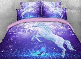 59 onlwe 3d unicorn and erfly printed cotton 4 piece purple bedding sets duvet covers
