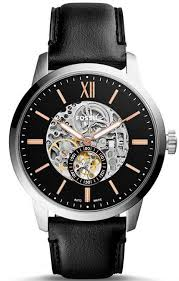 men s fossil townsman automatic black leather band watch me3153 loading zoom
