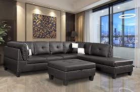 faux leather sectional sofa nail head trim