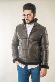 mens fur coat manufactured from natural lambskin and lambswool