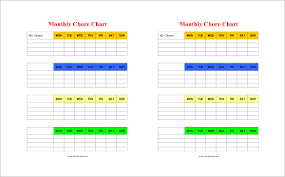 Blank Monthly Chore Chart Chore Chart Template 15 Free Pdf Word Documents Download