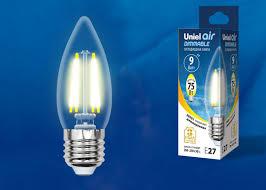 Диммируемая <b>лампа</b> E27 9Вт <b>LED</b>-<b>C35</b>-<b>9W</b>/<b>4000K</b>/<b>E27</b>/<b>CL</b>/<b>DIM</b> ...