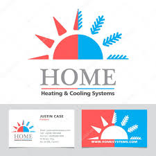 heating cooling icon. heating \u0026 cooling systems business icon card vector template \u2014 stock #82509984