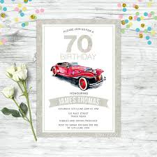 Car Birthday Invitations Details About 70th Birthday Invitations Personalised Party Supplies Mens Invites Car Party