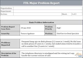 Major Problem Report Template Itil Docs