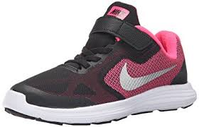 nike running shoes for girls black and white. nike girls\u0027 revolution 3 running shoe (psv), black/metallic silver/ nike shoes for girls black and white s