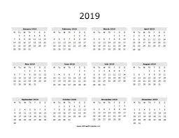 Calendar Year 2019 Printable Printable Calendar 2019 Year 2019 Calendar Free Printable