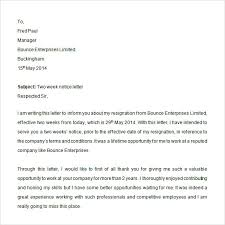 2 Week Notice Letter For Work 12 Two Weeks Notice Letter Templates Google Docs Ms Word