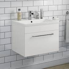 vellamo aspire 600mm wall mounted 1 drawer vanity unit basin gloss white