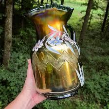 antique fenton green enameled columbine zig zag carnival glass water pitcher