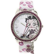 betty boop betty boop pink stone case with dangling charms character printed dial og watch white strap with pink lips com