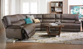 karma oversized power reclining sectional sofa in brown faux leather with 3 recliner usb charging