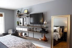 One of the easiest ways to incorporate the tv into your space is to use an entertainment console that includes a hutch or matching bookshelves. Interior Furniture Bedroom Shelves Design Ideas Tv Wall Depot And Wood Floating Shelf Bathroom Attach On Gray Decorating Idea Pictures Wall Decor Wall Shelves For Bedroom Homedesign121