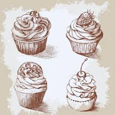 vintage cupcakes drawing. Modren Cupcakes Set Of Sweet Bakery Decorated Cupcakes Hand Drawn In Vintage Engraved  Style Vector Illustration On For Vintage Cupcakes Drawing R
