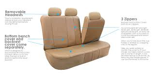 fh group tan faux leather airbag compatible and split bench car seat covers full set com