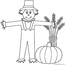 Scarecrow with wheat sheaf and pumpkin - Coloring Page (Autumn/Fall)