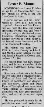 Lester Manus obit, husband of juanita rhodes, luther's daughter -  Newspapers.com