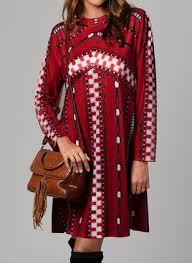 <b>Vintage Geometric Round</b> Neckline Above Knee A-line Dress ...