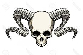 Photostock Vector Human Skull With Ram Horns Drawn In Sketch Tattoo