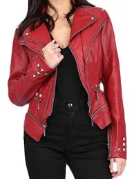 women s red studded pu leather slim fit moto jacket