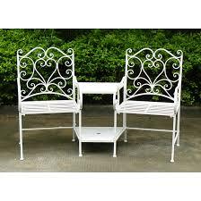 bentley garden heart shaped wrought iron companion seat love seat white