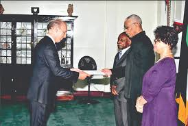 ambador javier maria carbajosa sanchez presenting his letter of credence to president david granger in the presence of foreign affairs minister carl
