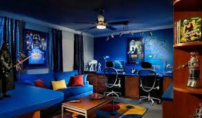 office game room. blue walls mens game room with office design a
