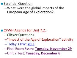 □ essential question what were the global impacts of the  essential question what were the global impacts of the european age of exploration