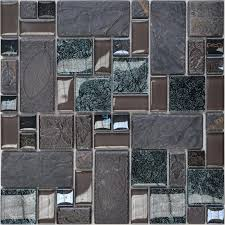 Small Picture and Glass Tiles Wall Bathroom Backsplash Leaves Patterns Design
