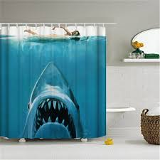 polyester mildew resistant waterproof bath curtain risk jaw white shark pattern shower curtain with