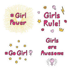 Girl Power Quotes Custom Set Of Hand Drawn Quotes About Girl Power Feminism With Sun