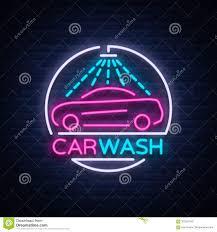 Neon Sign Logo Design Car Wash Logo Design Emblem In Neon Style Vector