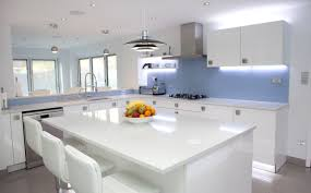 kitchen ambient lighting. White Gloss Nolte Kitchen With Bright Blue Glass Splashbacks And Ambient Lighting