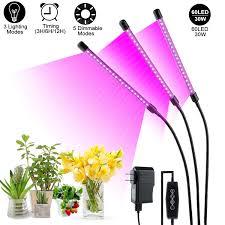 Plant Grow Light 30w Three Head Grow Lamp For Indoor Plants 60 Leds Clip On Full Spectrum Spotlight With 360 Degree Gooseneck Red Blue Spectrum 6