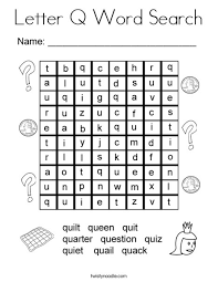 Small Picture Letter Q Word Search Coloring Page Twisty Noodle