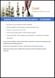 junior production executive colombo a that matters junior production executive colombo